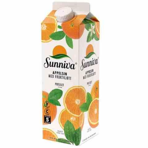 Bilde av Tine Sunniva Premium Appelsinjuice med fruktkjøtt.