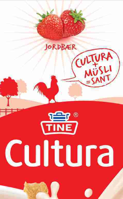 Bilde av Tine Cultura, syrnet melk  Jordbær.