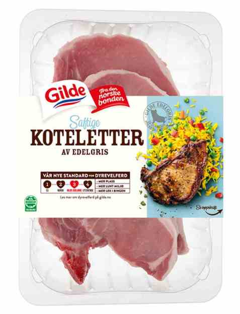 Bilde av Gilde Edelgris svinekoteletter uten svor 700 gr.
