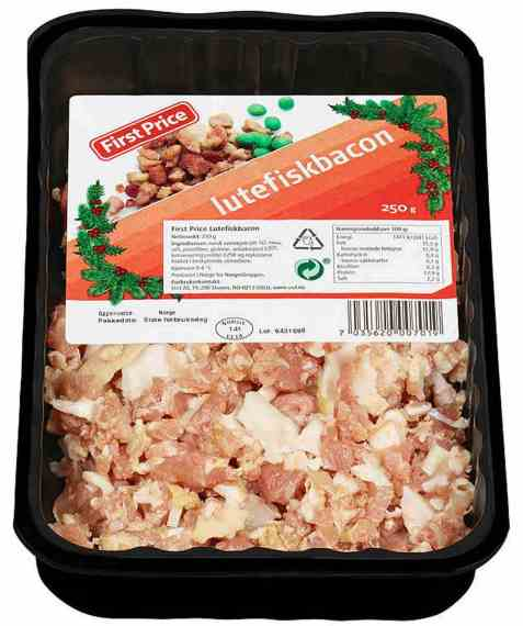 Bilde av First Price lutefiskbacon i biter.