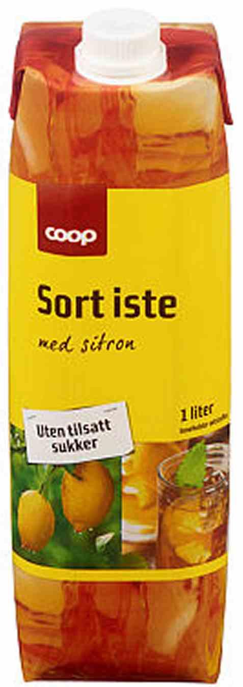 Bilde av Coop sort iste uten sukker 1 liter.