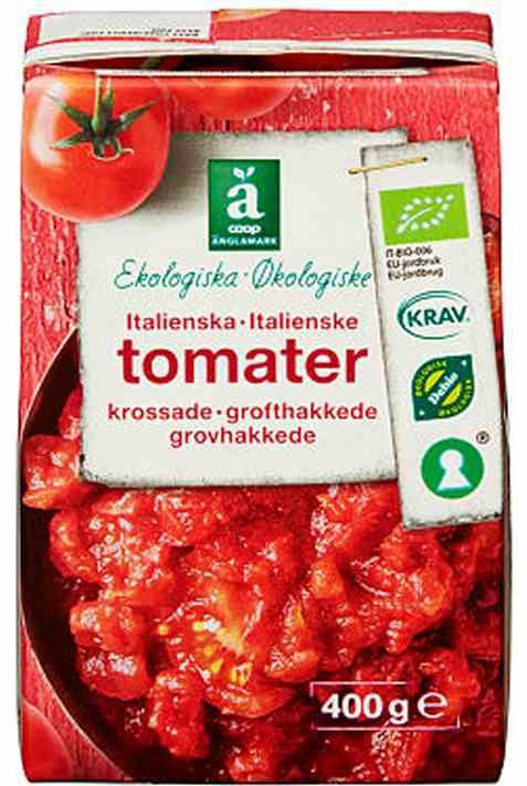 Bilde av Coop anglamark Økologiske hakkede tomater.