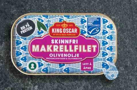 Bilde av King Oscar skinnfri Makrellfilet i olivenolje.