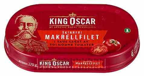Bilde av King Oscar skinnfri Makrellfilet i tomatsaus 170gr.