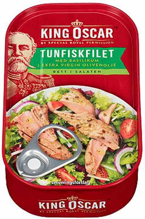 Bilde av King Oscar tunfiskfilet med basilikum.