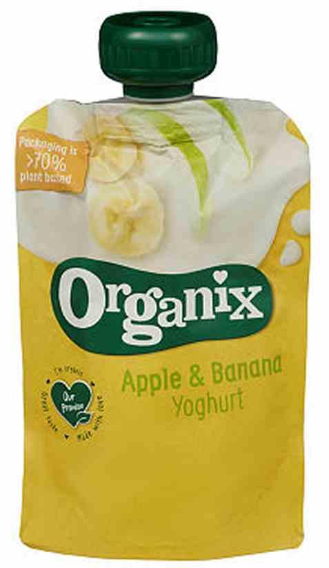 Bilde av Semper organix eple og banan yoghurt.