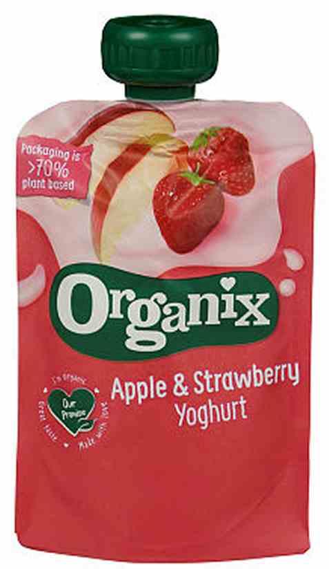 Bilde av Semper organix eple og jordbær yoghurt 6mnd.