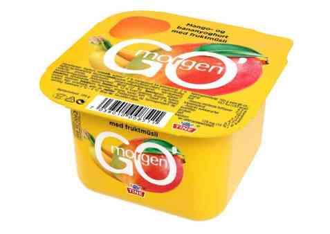 Bilde av Tine Go morgen Mango/bananyoghurt med fruktmusli.