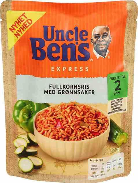 Bilde av Uncle Bens express fullkornsris med grønnsaker 250gr.