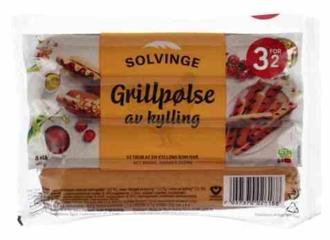 Bilde av Solvinge grillpølse av kylling røkt 460gr.
