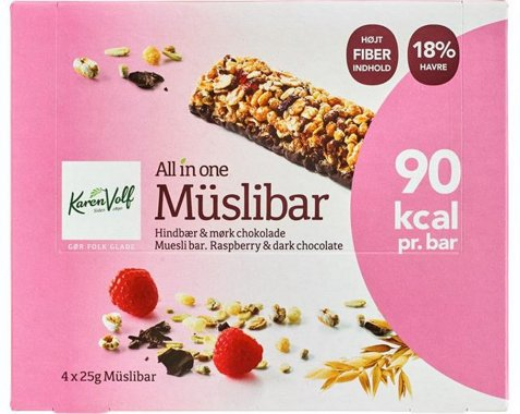 Bilde av Karen Volf muslibars hindbær og chocolate 100gr.