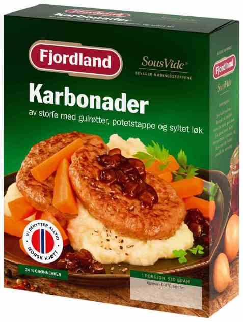 Bilde av Fjordland karbonader med gulrøtter, løk og potetstappe.