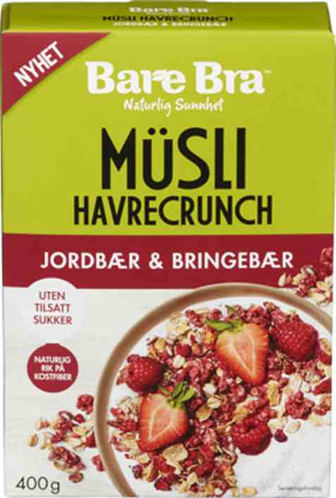 Bilde av BareBra musli med jordbær og bringebær.