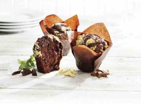Bilde av Aunt Mabel Triple chocolate tulip muffin.