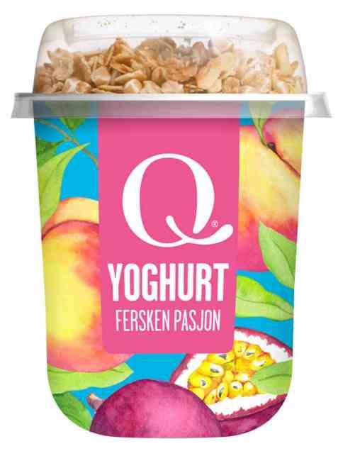 Bilde av Q yoghurt m/musli fersken og pasjonsfrukt.