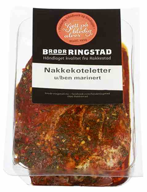 Bilde av Brødrene Ringstad Nakkekoteletter uten ben marinert 300g.