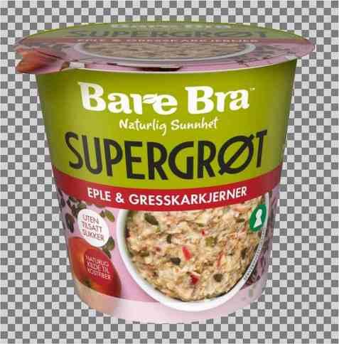 Bilde av BareBra supergrøt med eple og gresskarkjerner.