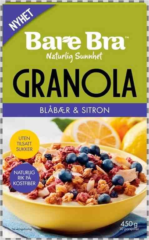 Bilde av BareBra Supergranola med blåbær og sitron.