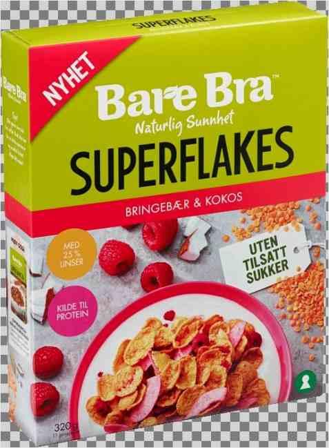 Bilde av BareBra Superflakes kokos og bringebær.