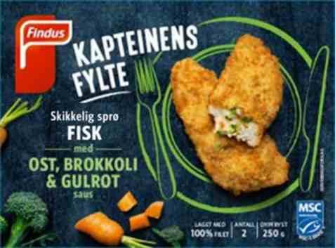 Bilde av Findus Kapteinens fylte fisk med ost.