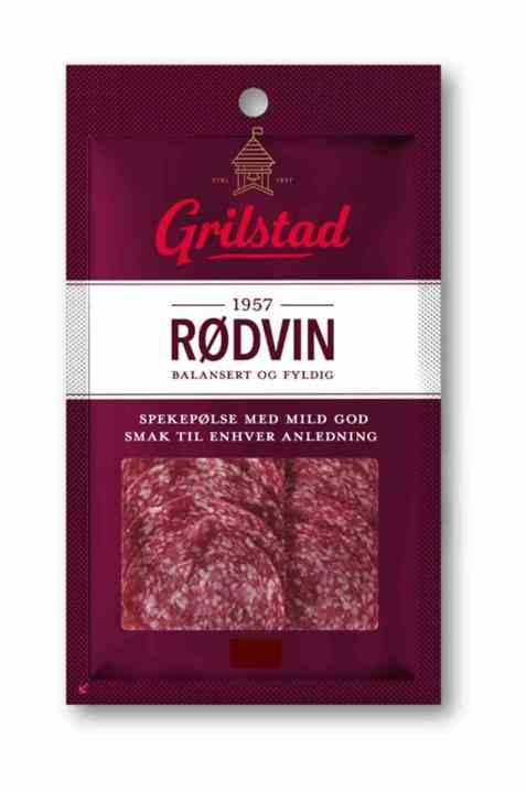 Bilde av Grilstad rødvinspølse i skiver.