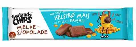 Bilde av Sørlandschips melkesjokolade med maiskorn 150 gr.