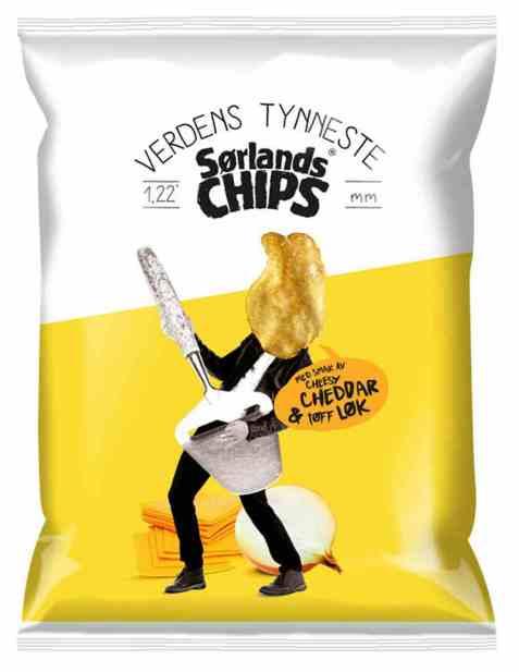 Bilde av Sørlandschips verdens tynneste cheesy cheddar og løk 200gr.