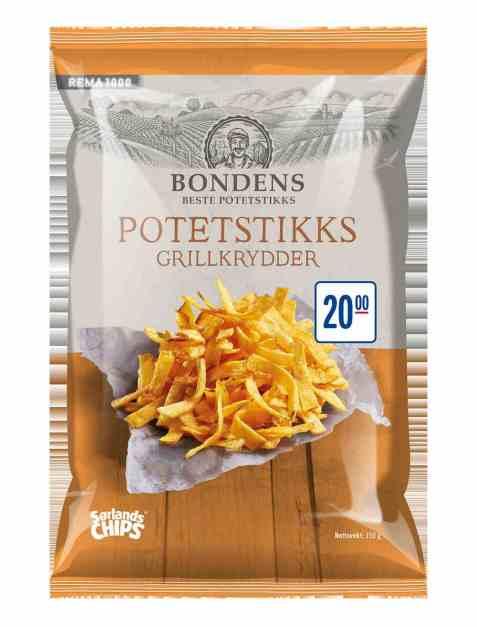 Bilde av Sørlandschips Bondens Potetstikks med grillkrydder.