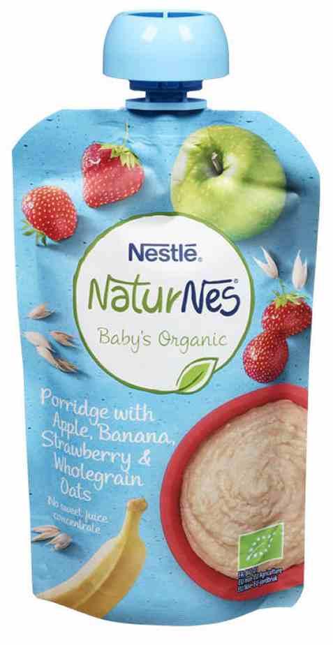 Bilde av Nestlé naturnes økologisk smoothie porridge med jordbær.