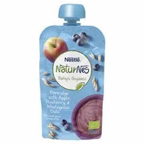 Bilde av Nestle naturnes økologisk grøt med eple, blåbær og havre.