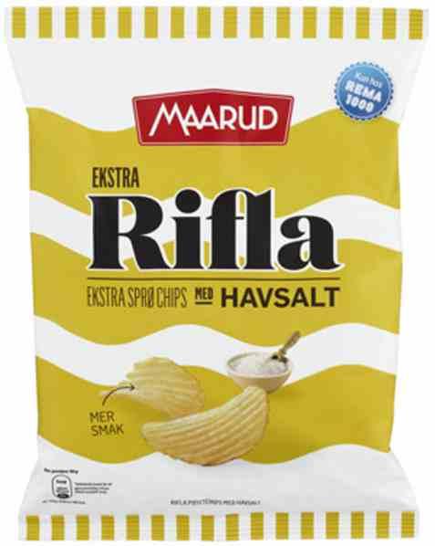 Bilde av Rema 1000 Ekstra Rifla Havsalt chips 180g.
