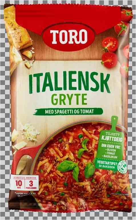 Bilde av Toro italiensk gryte med spagetti tilberedt.