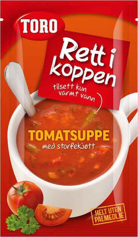 Bilde av Toro Rett i Koppen tomatsuppe med storfekjøtt.