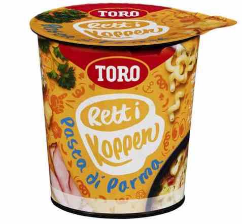 Bilde av Toro Rett i Koppen Pasta di parma med ostesaus, skinke og urter.