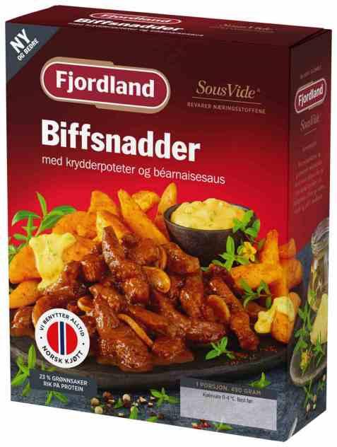 Bilde av Fjordland Biffsnadder med krydderpoteter og bernaisesaus.