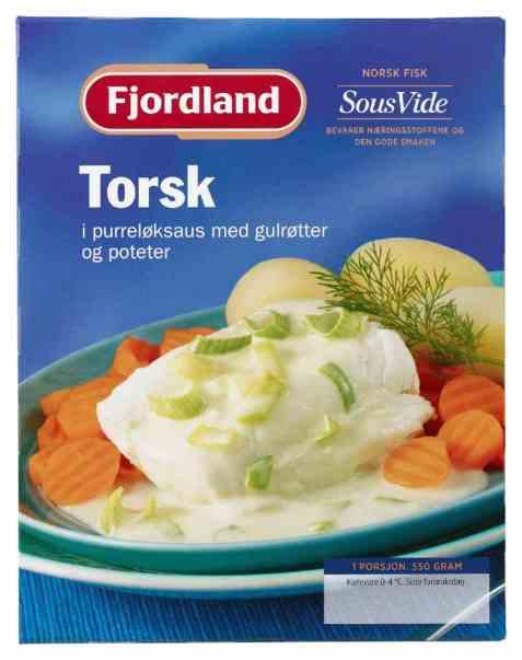 Bilde av Fjordland Torsk i purreløksaus med gulrøtter og poteter.