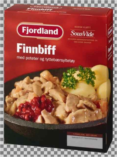 Bilde av Fjordland Finnbiff med poteter og tyttebær.