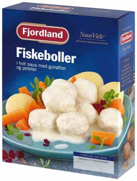 Bilde av Fjordland Fiskeboller med gulrøtter og poteter.