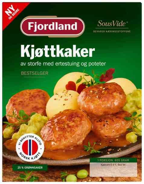 Bilde av Fjordland Kjøttkaker med ertestuing og poteter.