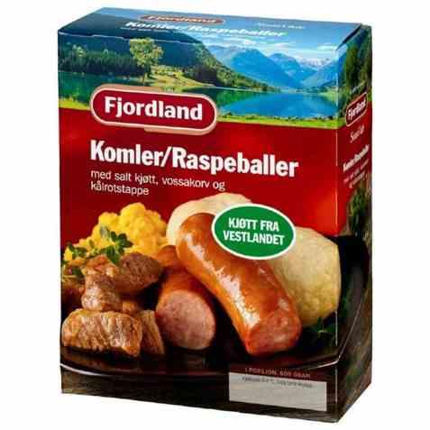 Bilde av Fjordland Komle/Raspeballer med salt kjøtt, vossakorv og kålrotstappe.