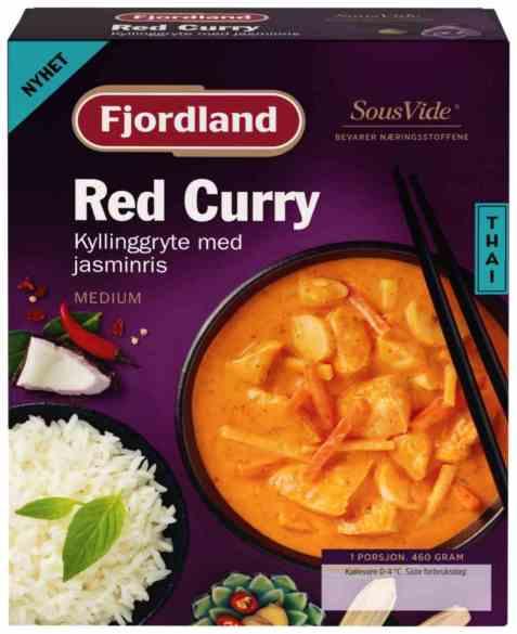 Bilde av Fjordland Kylling red curry med jasminris.