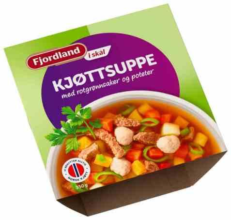 Bilde av Fjordland Kjøttsuppe med rotgrønnsaker.