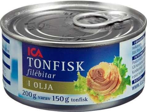 Bilde av Tunfisk, i olje, avrent, hermetisk.