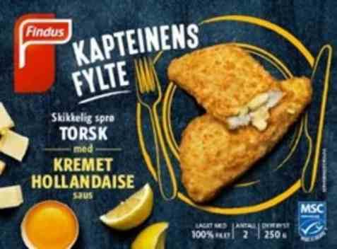Bilde av Findus Kapteinens fylte torsk med hollandaisesaus.