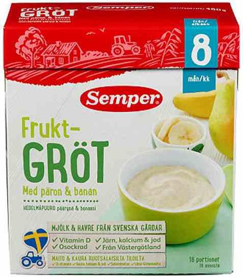 Bilde av Semper Fruktgrøt med pære og banan.