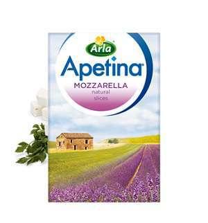 Bilde av Arla apetina Finello mozzarella i skiver.