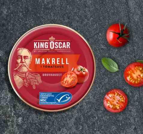 Bilde av King Oscar Grovrevet-Makrell i tomat.