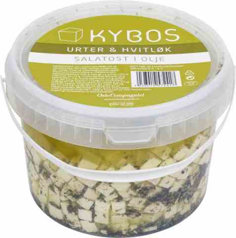 Bilde av KYBOS salatost i olje med urter og hvitløk.