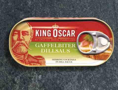Bilde av King Oscar gaffelbiter i dillsaus.