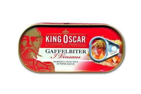 Bilde av King Oscar gaffelbiter i vinsaus.